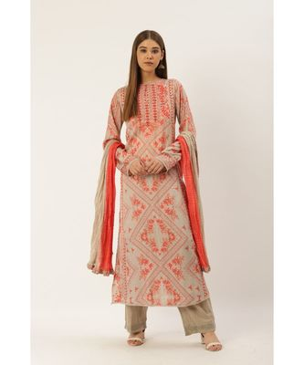 Ritu Kumar Peach Full Sleeve Long Printed Kurta With Trouser And Dupatta