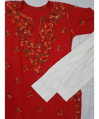 Red Lucknowi Chikan Rayon Kurti Set with Multi Color thread work