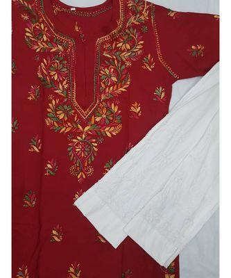 Maroon Lucknowi Chikan Rayon Kurti Set with Multi Color thread work