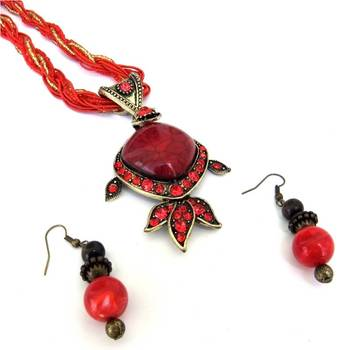 Red Stones Necklace set