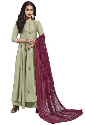 Light Pista Green Colour Satin Kurti set