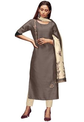 Brown Colour Silk Kurti set