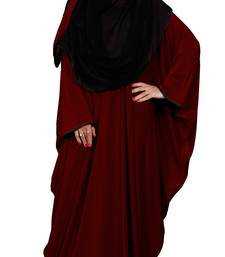 Justkartit Women's Occasional Wear Plain 2 Way Wearable Lycra Abaya Burkha (Maroon)