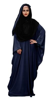 Justkartit Plain 2 Way Wearable Lycra Abaya Burkha For Women (Navy Blue)