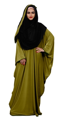 Justkartit Women's Festive Wear Plain 2 Way Wearable Lycra Abaya Burkha (Mehendi)