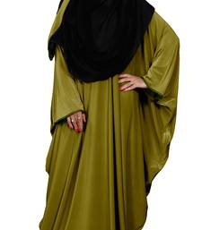 Justkartit Women's Festive Wear Plain 2 Way Wearable Lycra Abaya Burkha (Mehendi)