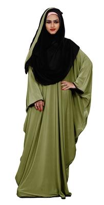 Justkartit Outdoor Wear Plain 2 Way Wearable Lycra Abaya Burkha For Women (Olive)