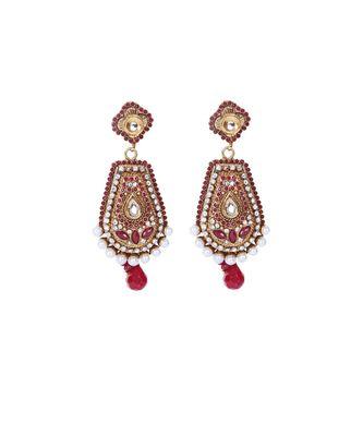 Maroon Gold Polki Pearl Stone Studded Ethnic Earrings