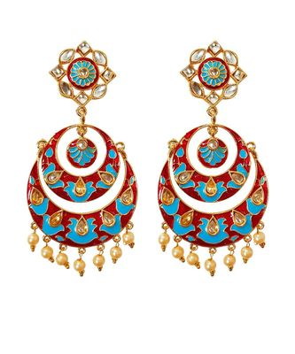 Feroza Blue Red Gold Base Kundan Pearl Drops Chandbali Earrings TE1050