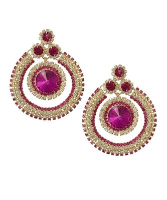 Pink Silver Gold Base Stone Studded Round Earrings TE1056