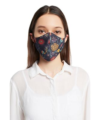 Payal Singhal Tulip Garden and Navy Spring print reversible 3 ply face mask with pouch