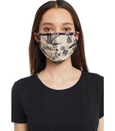 Payal Singhal Blush Jannat with Black Pine Cone print pleated 3 ply mask with pouch