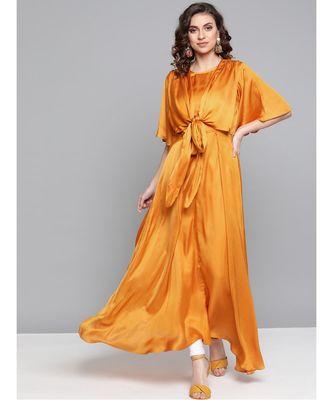 Ritu Kumar Half Sleeve Long Solid Kurta With Self Tie Detailing