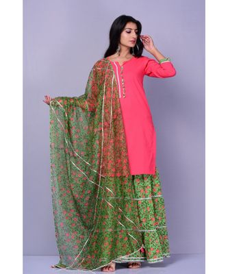 Peach and Green Garara Set