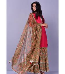Maroon and Beige Garara Set