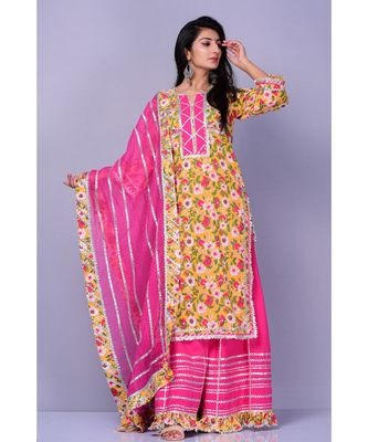 Yellow Gulbagh Suit Set