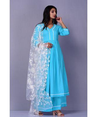 Firozi Suit with Net dupatta