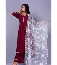 Burgandy Suit with Net dupatta
