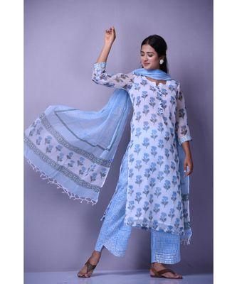 White And Blue Kota Doriya Suit Set