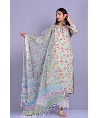 Mint Rose Print Suit Set