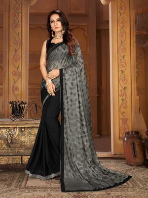 Sutram Black & Grey Lycra Printed Sari with Blouse Peice