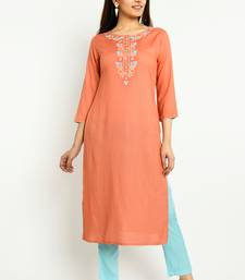 Coral embroidered rayon embroidered-kurtis