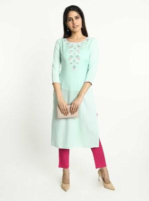 Light-turquoise embroidered rayon embroidered-kurtis