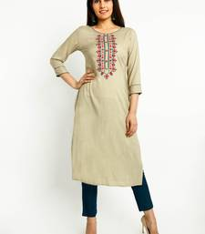 Beige embroidered rayon embroidered-kurtis