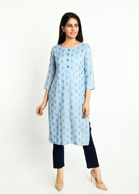 Sky-blue printed rayon ethnic-kurtis