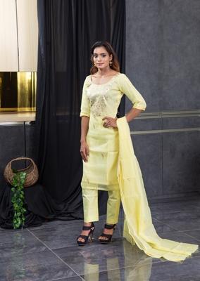 Yellow pita work kota doria salwar
