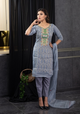 Grey thread embroidery kota doria salwar