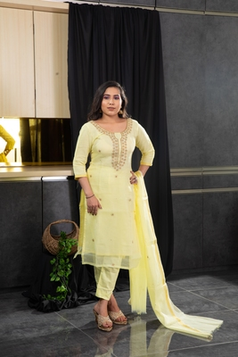 Yellow beads kota doria salwar