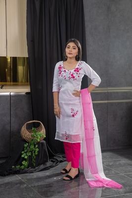 White thread embroidery kota doria salwar