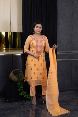 Orange thread embroidery kota doria salwar