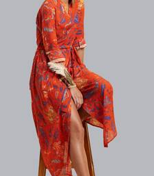 Label Ritu Kumar Red Printed Long Dress