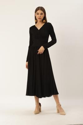 Label Ritu Kumar Black Full Sleeves Black Self-Work Evening Long Dress