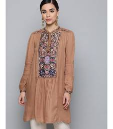 Label Ritu Kumar Brown Full Sleeves Floral Embroidered Short Dress
