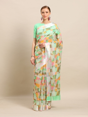 Green Color Cotton Digital Print saree with blouse