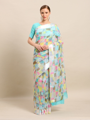 Sea Green Color Cotton Digital Print saree with blouse