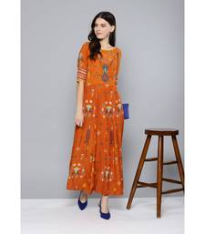 Label Ritu Kumar Rust Sleeve Till Elbow Rust Printed Long Dress With Camisole