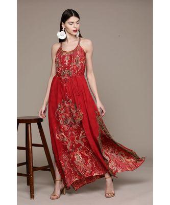 Label Ritu Kumar Red Label Sleeveless Strappy Long Dress