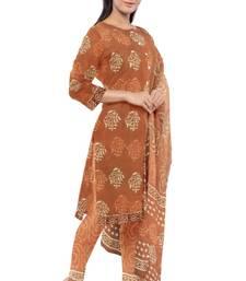 Red Brown Bagru Dabu Hand Block Printed Unstitched Cotton Suit Set with Cotton Dupatta