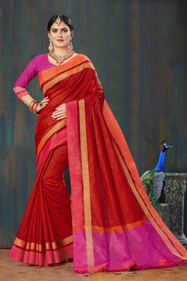 Women Red Jute Silk Embellished Designer Saree