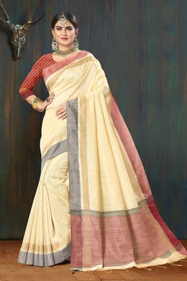 Women Beige Jute Silk Embellished Designer Saree