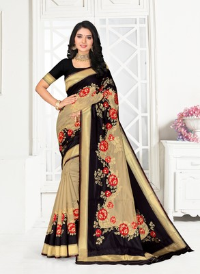 Women Black Poly Silk Embroidered with jaqcard Border Designer Saree