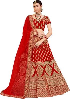 Red Embroidered Satin  Semi Stitched Lehenga Choli