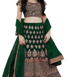 Green Embroidered Satin  Semi Stitched Lehenga Choli