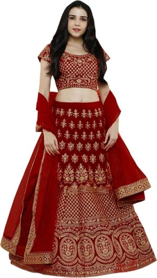 Red Embroidered Satin  Semi Stitched Lehenga Choli