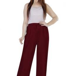 Maroon plain rayon palazzo pants