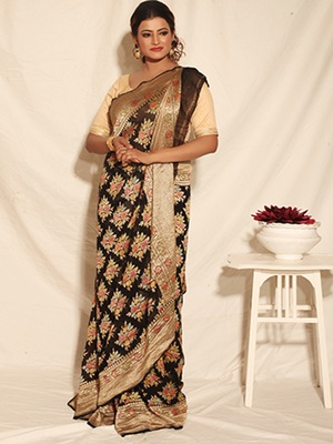 Black Multicolor Pure Chiffon Banarasi Silk Saree
